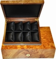 Case for 8 watches in elm burl, with 8 cushions.