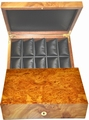 Case for 10 watches in elm burl, with 10 cushions.